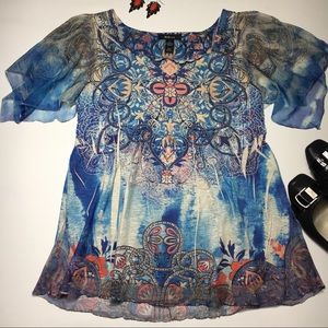 Style & Co. Blouse with Sheer Sleeves, Embellished